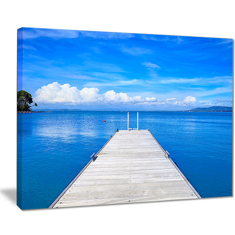 large wooden pier seascape photo canvas print PT8387