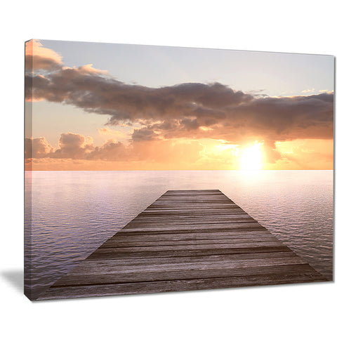 yellow sea and brown pier seascape photo canvas print PT8396