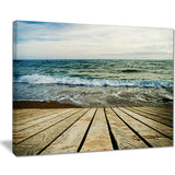 wooden pier in waving sea seascape photo canvas print PT8399