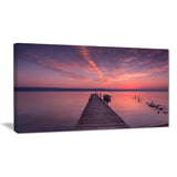wooden pier under red sky seascape photo canvas print PT8400