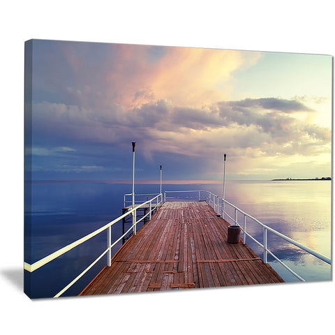 pier under bright sky seascape photo canvas print PT8401