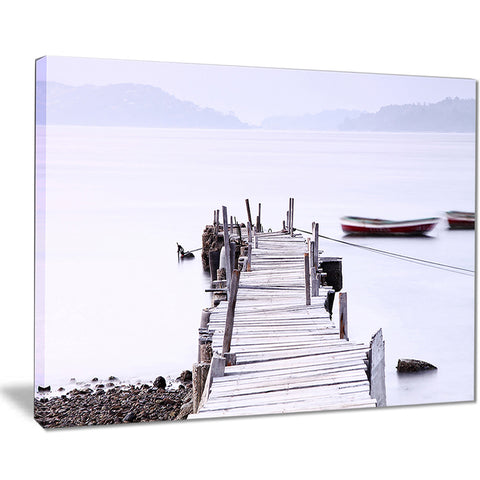 foggy sea with pier and boats seascape photo canvas print PT8403