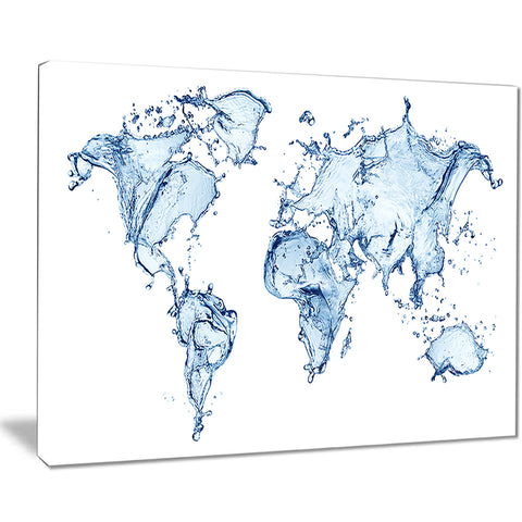 world map water splash map digital art canvas print PT8420