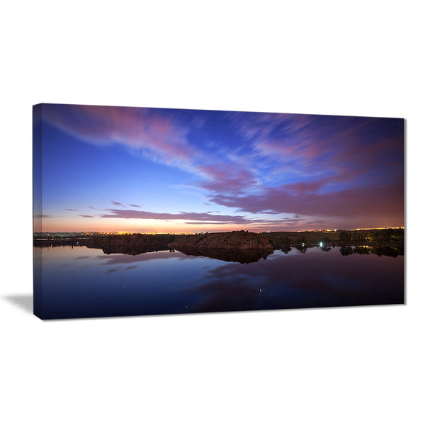 dark night sky over river modern photography canvas print PT8422