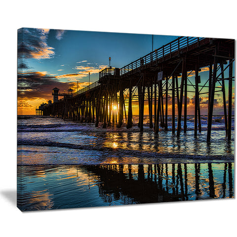 oceanside pier at evening landscape photo canvas print PT8428