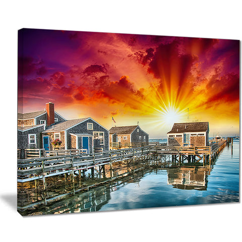 wooden homes at sunset landscape photo canvas art print PT8433