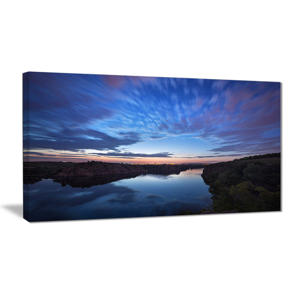 clouds reflection in river landscape photo canvas print PT8446