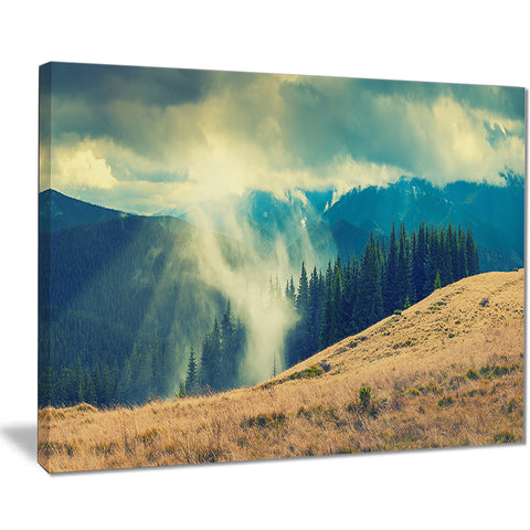blue forest in fog landscape photo canvas print PT8483