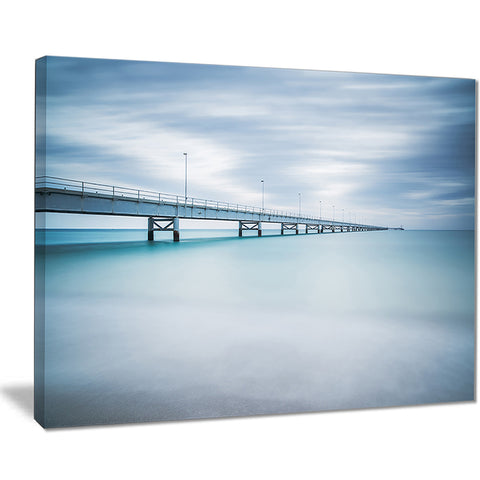 industrial pier side view seascape photo canvas print PT8499