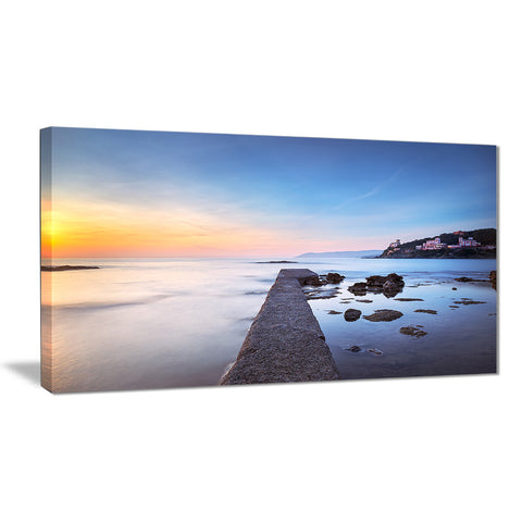 castiglioncello bay concrete pier seascape photo canvas print PT8500