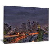 los angeles dark skyline cityscape photo canvas print PT8616
