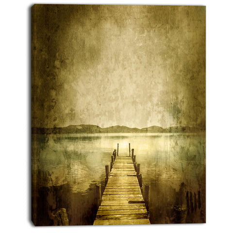 vintage pier over lake landscape digital art canvas print PT8626