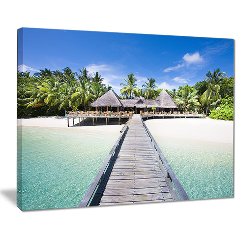 beach with coconut palm trees landscape photo canvas art PT8629
