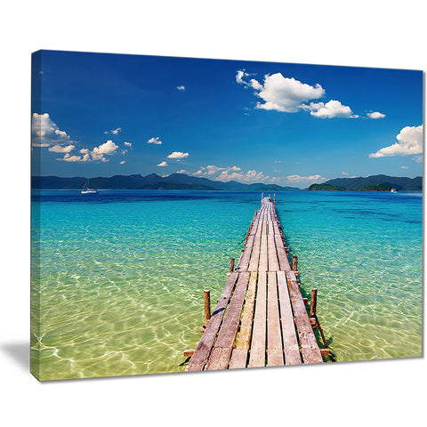 wooden pier in tropical paradise seascape photo canvas print PT8630
