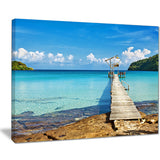 old wooden pier in sea seascape photo canvas print PT8632