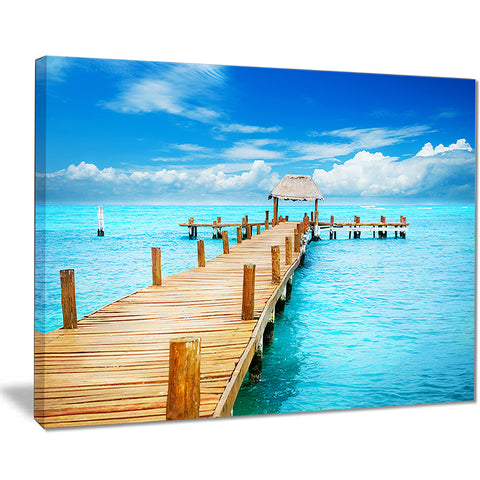 tropic paradise jetty in mexico seascape photo canvas print PT8633