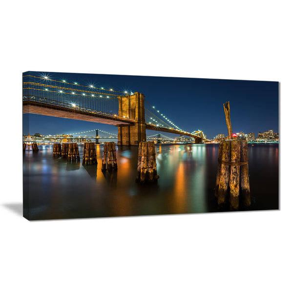 lit up brooklyn bridge by night cityscape photo canvas print PT8634