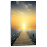 ocean sunset with pier seascape photo canvas print PT8635