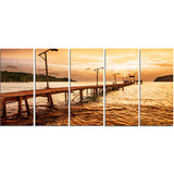 sunset over brown sea seascape photo canvas print PT8637