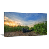 old fisher boat near lake landscape photo canvas print PT8639