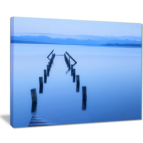 wood walk seascape photography canvas art print PT8641