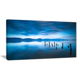 blue lake with wooden pier landscape photo canvas print PT8643