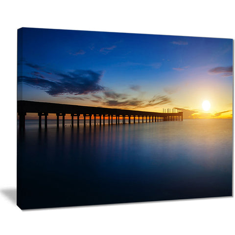 abandoned piers in the sea seascape photo canvas print PT8644