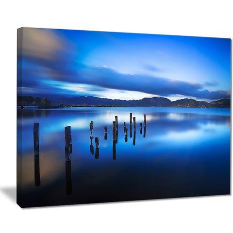 blue lake sunset with pier landscape photo canvas print PT8645