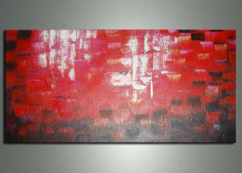1 Panel Abstract Red Painting 741s - 32x16in