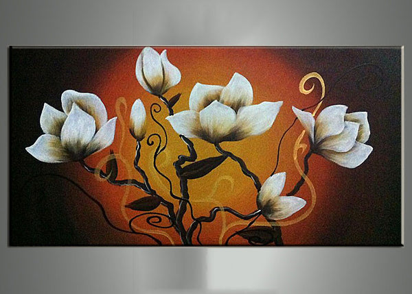 White Floral Painting in Orange 269s - 16x32in