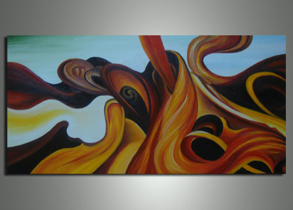Modern Yellow Abstract Painting 252s - 32x16in