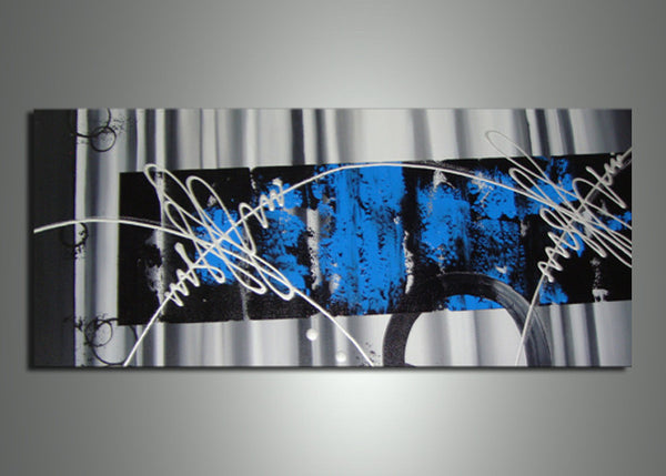 Blue Abstract Canvas Art 711s - 32x16in