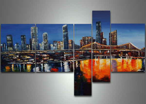 Blue Abstract Cityscape Painting 66 x 36in