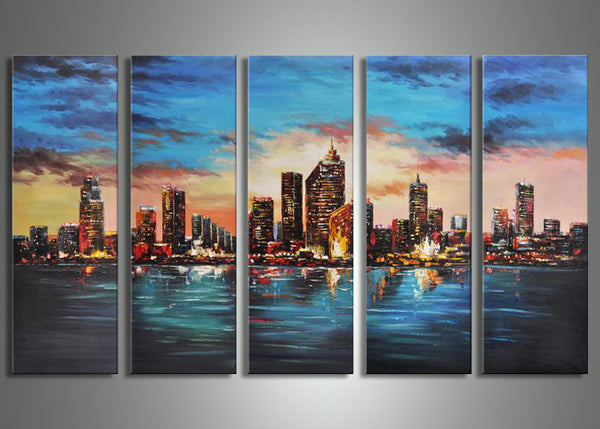 Architecture Cityscape Painting 63x32in