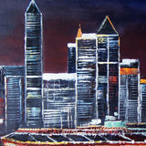 Cityscape Art Painting Night 64x32in