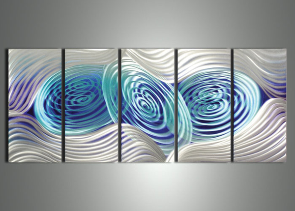 Blue & Silver Metal Art Painting  60x 24in