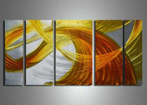 Yellow Orange Metal Wall Art 56x24