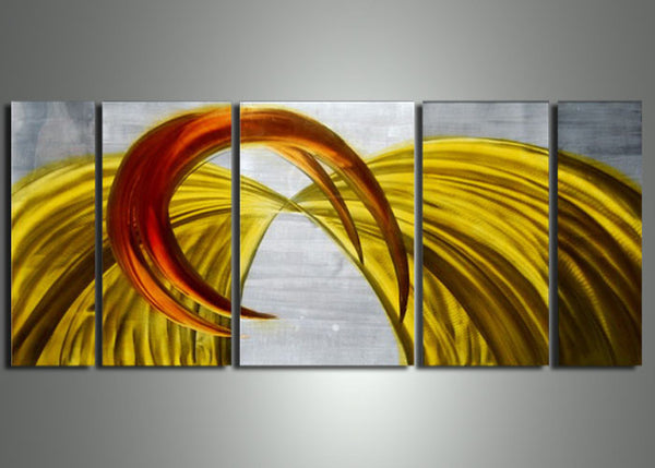 Yellow Orange Metal Painting - 56x24