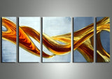 Yellow Orange Metal Art Painting 56x24