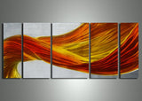 Yellow Orange Metal Abstract Art 56x24