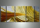 Yellow Orange Metal Abstract Art 56x24in