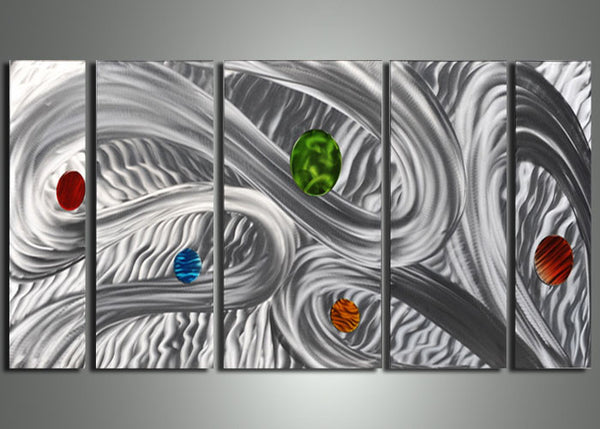 Silver Metal Wall Art Painting 56x24in