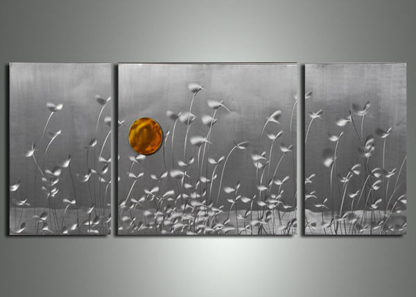 Modern Metal Wall Art Nature Painting 60x24in