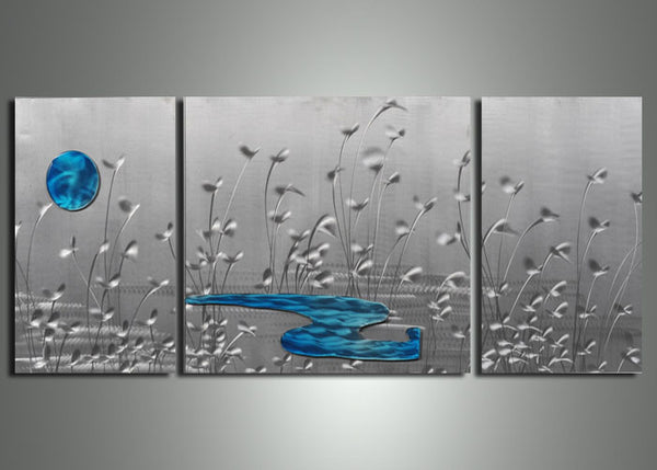 Silver Metal Nature Painting 60x24