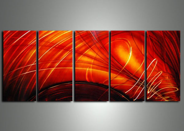 Multi Panels Red Art Painting - 60x24
