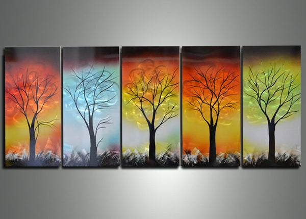 Modern Trees Metal Wall Art 60x24