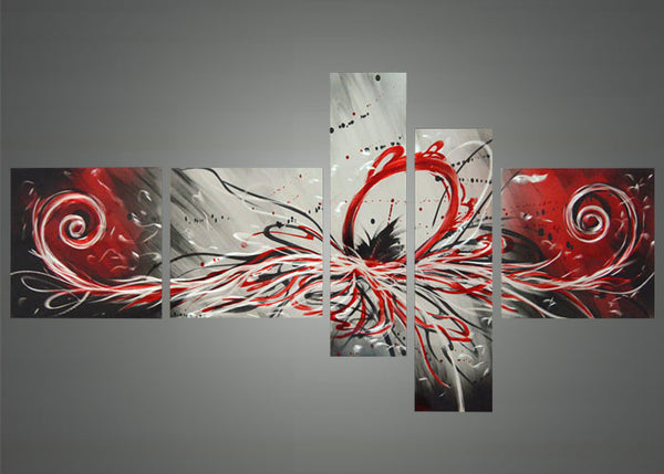 Red Abstract Metal Art 414 66 x 36in