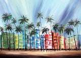 Heavily Textured Miami South Beach Painting - 40x30