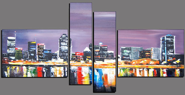 Montreal City Night Artwork - 63x33in
