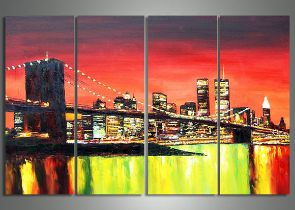 New York Bridge Art Painting - 64x32in